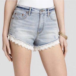 Free People Crochet Lace Trim Denim Shorts